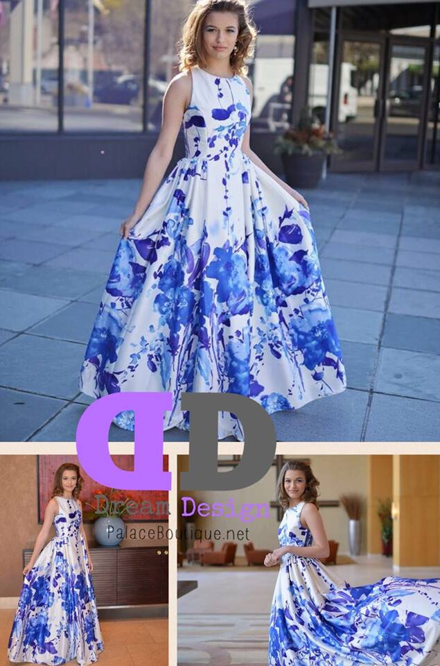 Multi blue/white prom pageant dress