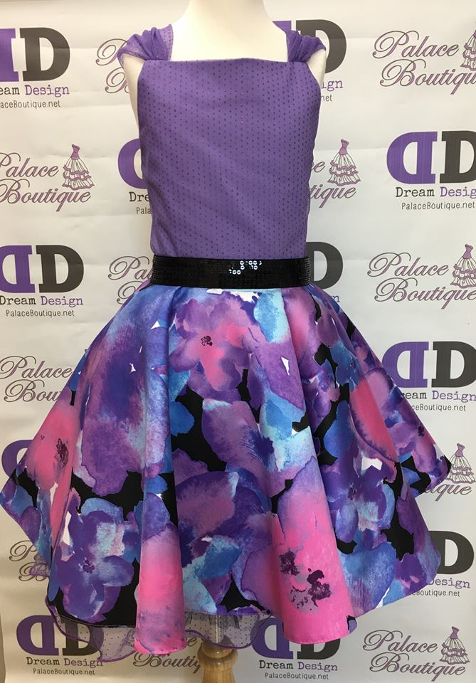 Purple print short dress