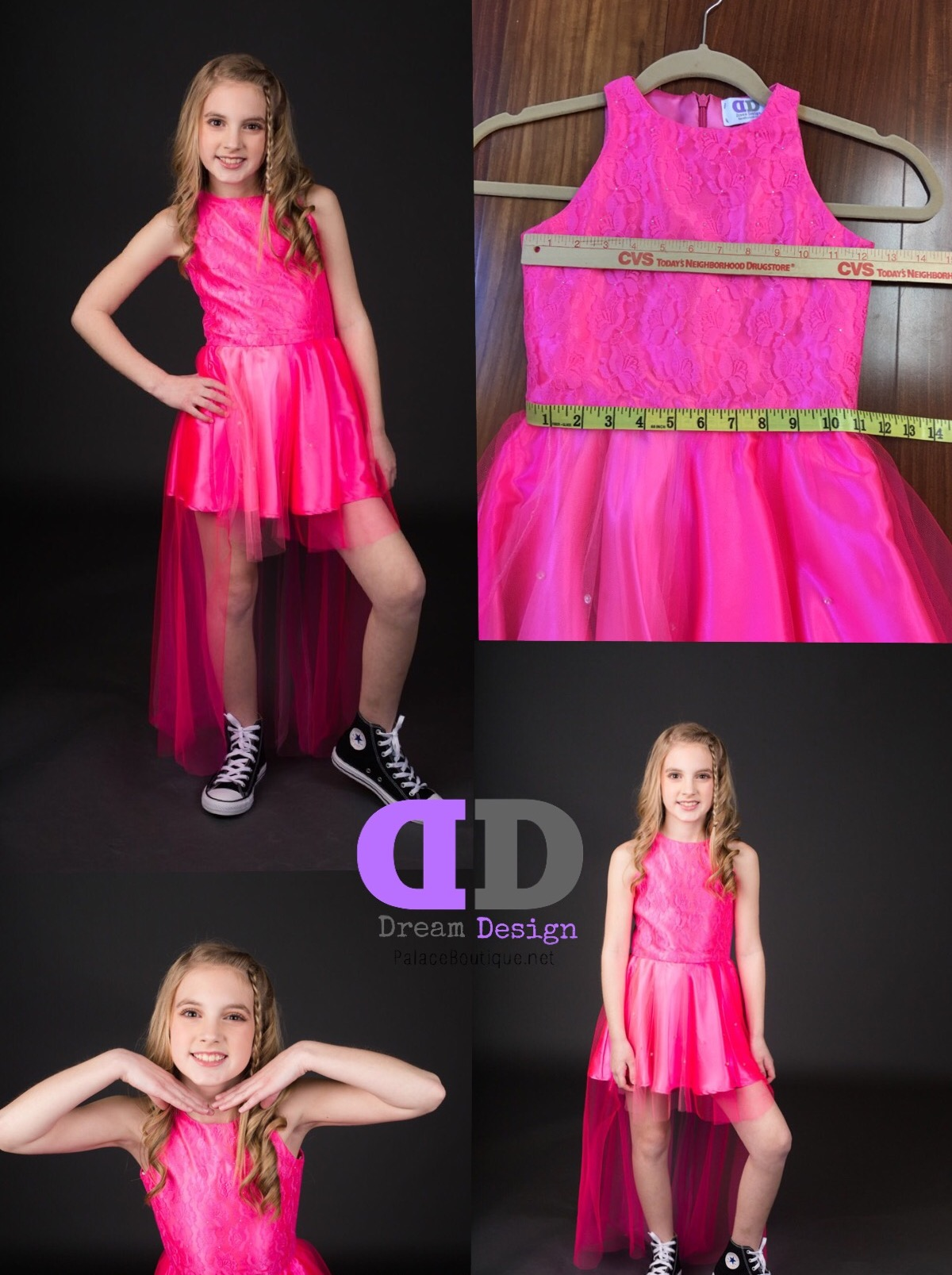 Little girl size 7/8 Fun Fashion Hot Pink Dress