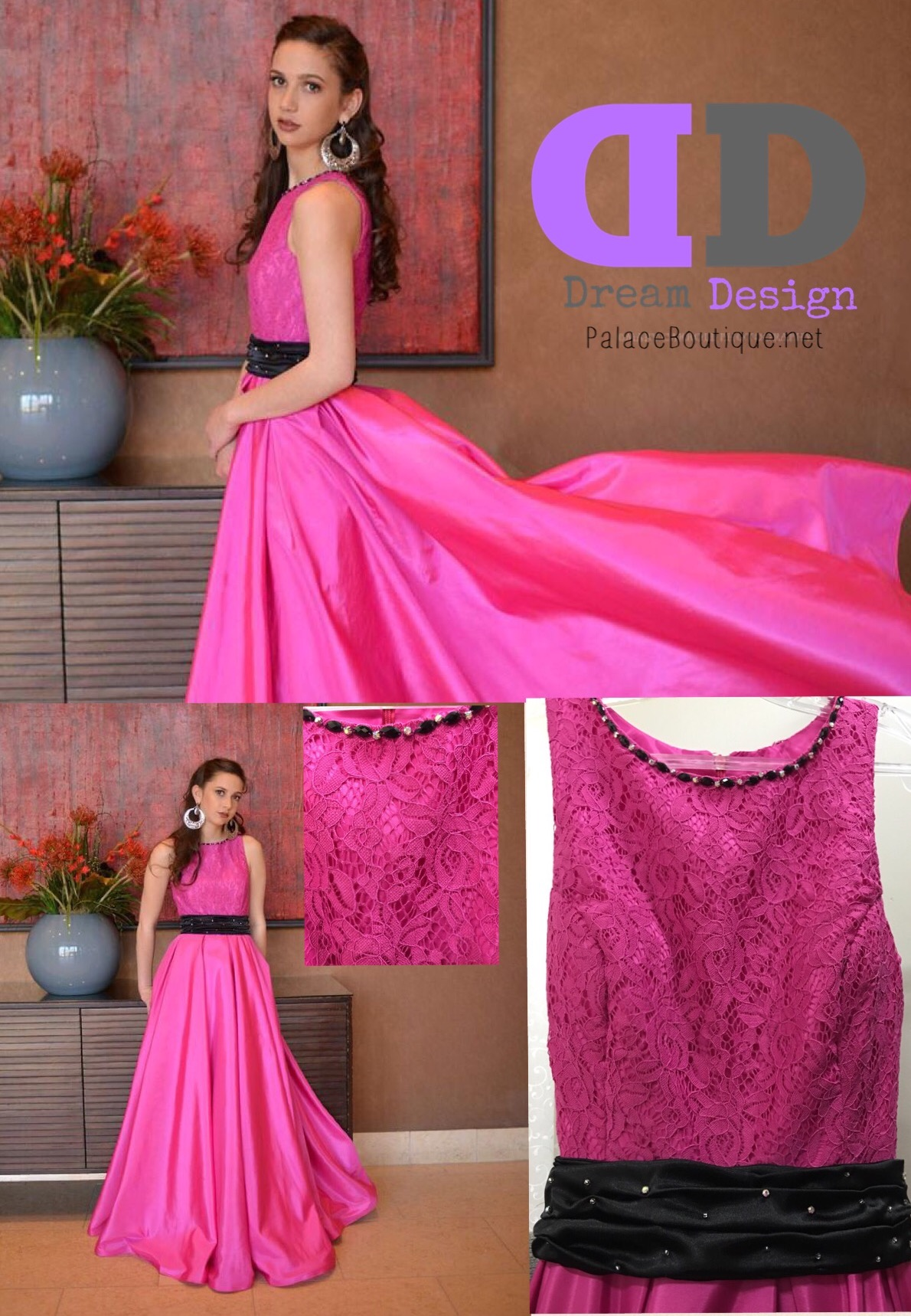 Bright Fuchsia Lace Top Junior Dress
