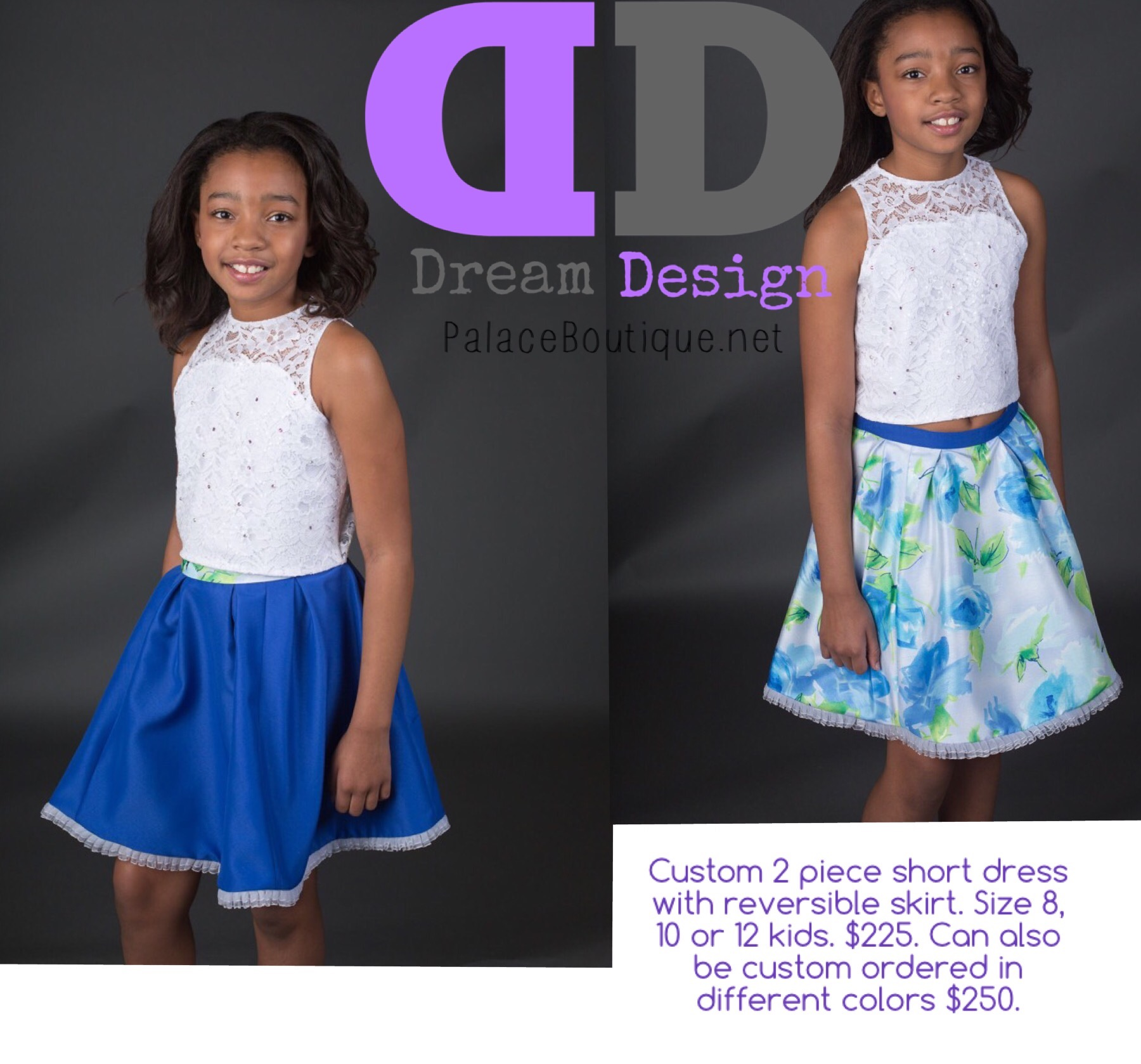 Two piece short fun dress for girls